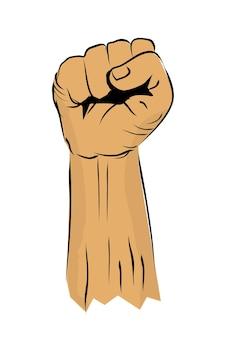 Einfache vektorschwarze, weiße und braune skizze, die hand stanzt oder fisting