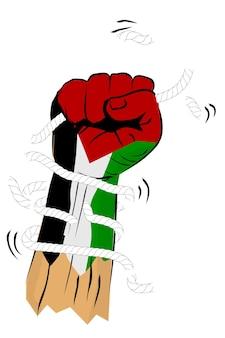 Einfache vektorskizze stanzen oder fisting hand mit gebrochenem seil und stacheldraht, palästina-flagge