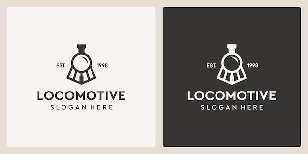 Einfache vintage alte lokomotive zug und lupe logo design-vorlage.