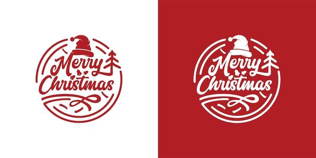 Einfache vintage schriftzug frohe weihnachten logo stempel