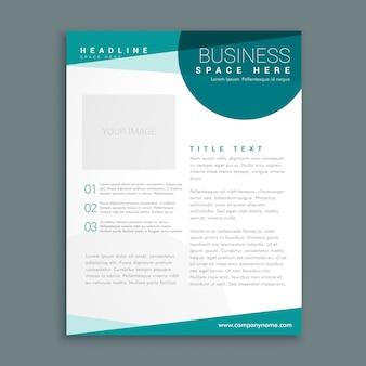 Einfache vorlage blau broschüre design in der größe a4
