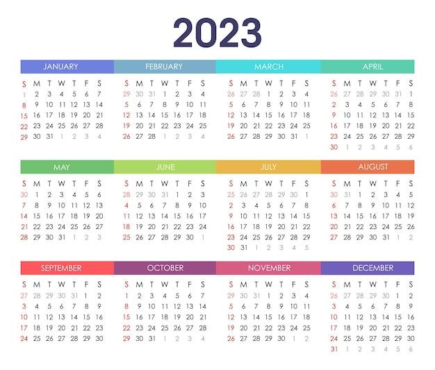 Einfache vorlage für das kalenderdesign 2023