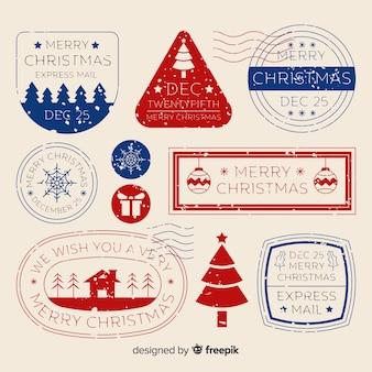 Einfache weihnachtsstempelsammlung