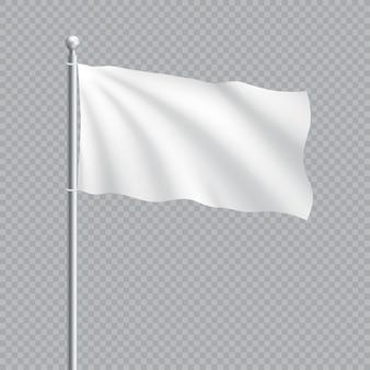 Einfache weiße flagge auf 3d fahnenmast Premium Vektoren