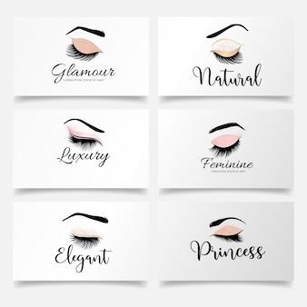 Einfache wimpern logo set bearbeitbare vorlage