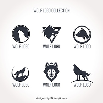Einfache wolfslogo-kollektion