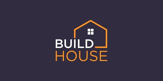 Einfache wortmarke bauen hauslogo mit strichgrafikstil. home build abstract für logo inspiration.