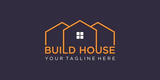 Einfache wortmarke bauen hauslogodesign mit strichgrafikstil. home build abstraktes design