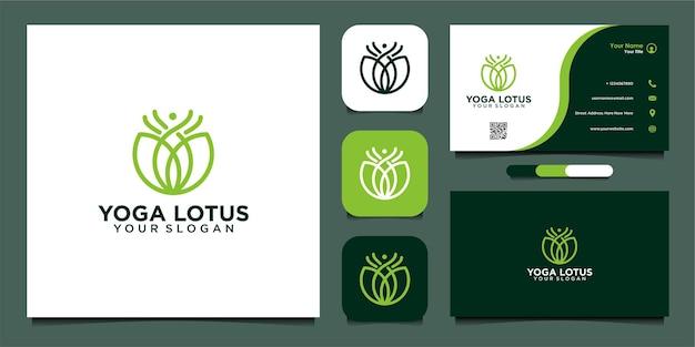 Einfache yoga-lotus-logo-design-vorlage mit linie und visitenkarte