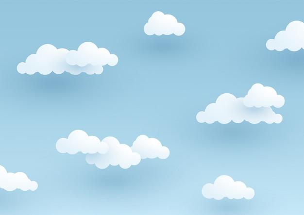 Einfacher 3d bewölkter blauer himmelhintergrund Premium Vektoren