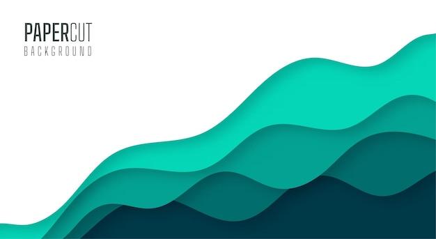 Einfacher abstrakter hintergrund der grünen meerwasserwellen moderner papierschnitt Premium Vektoren