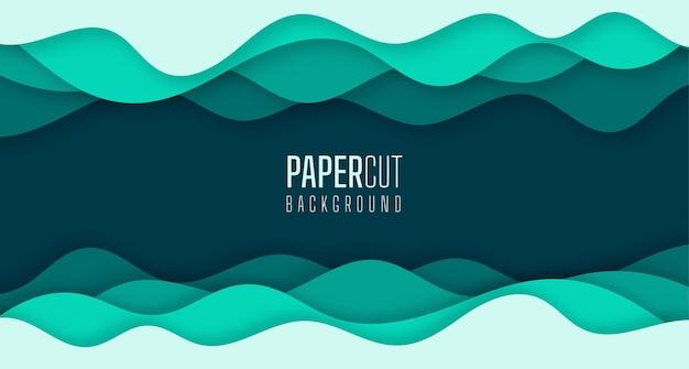 Einfacher abstrakter hintergrund der grünen meerwasserwellen modernes papierschnittgrafikdesign
