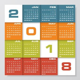 Einfacher bearbeitbarer vektorkalender 2018.