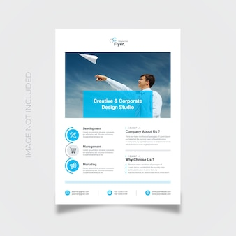 Einfacher blauer flyer