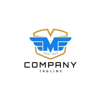 Einfacher buchstabe m mit wing badge logo design