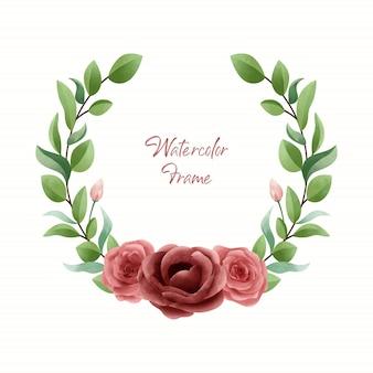 Einfacher eleganter aquarellblumenrahmen mit roter rose