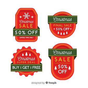 Einfacher etikettensatz für weihnachtsverkauf