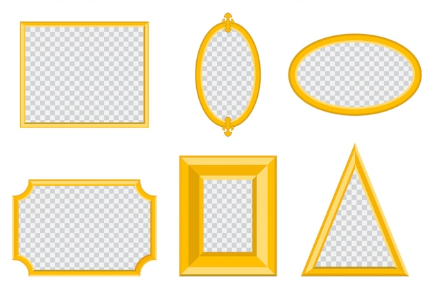 Einfacher goldener fotorahmen verschiedener formen