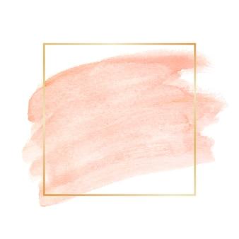 Einfacher goldener rahmen mit aquarellfleck