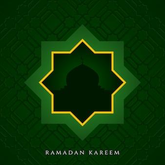 Einfacher grüner ramadan-kareem-rahmenhintergrund