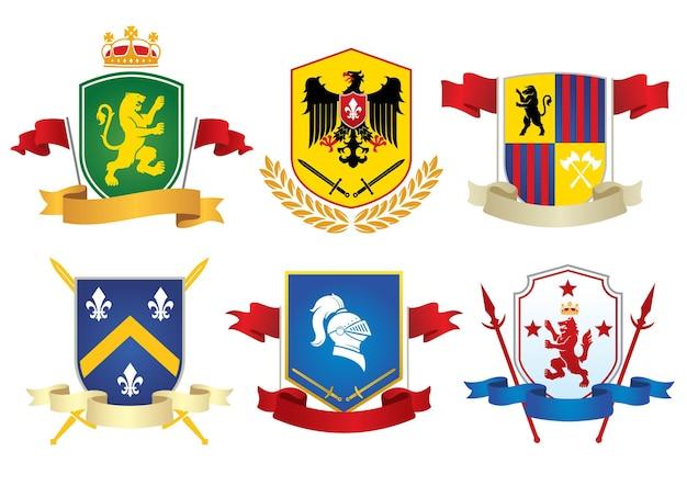 Einfacher heraldischer symbolsatz