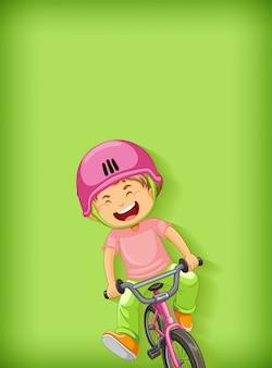 Einfacher hintergrund mit jungen, die fahrrad fahren