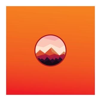 Einfacher kreis-orange berg-prämien-vektor