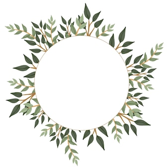 Einfacher kreisrahmen mit eukalyptusrand für hochzeitskarte
