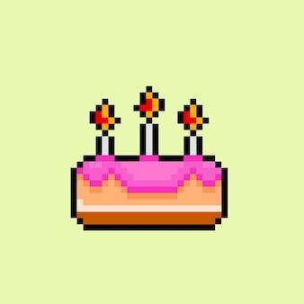 Einfacher kuchen im pixel-art-stil