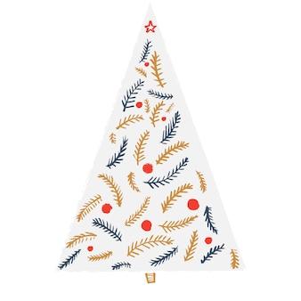 Einfacher minimalismus weihnachtsbaum-silhouette mit dekorationen und zweigen