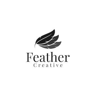 Einfacher minimalistischer eleganter federlogo-designvektor