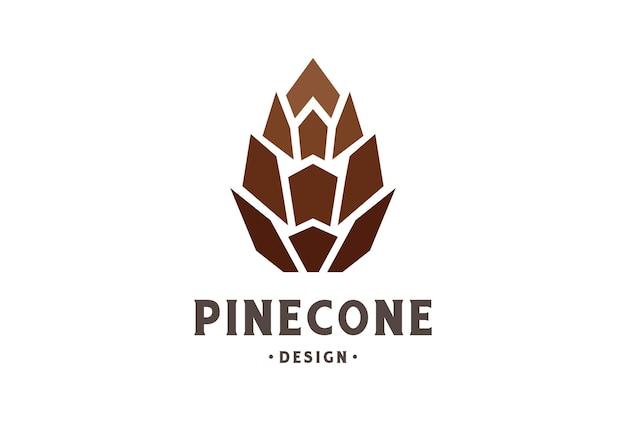 Einfacher minimalistischer geometrischer kiefernkegel-logo-design-vektor