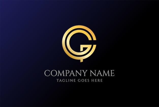 Einfacher minimalistischer luxus anfangsbuchstabe gc cg golden coin logo design vector