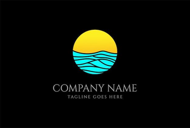 Einfacher minimalistischer sonnenaufgang-sonnenuntergang-ozean-meer-wellen-logo-design-vektor