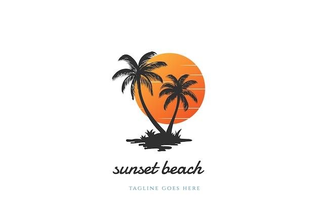 Einfacher minimalistischer sonnenuntergang-sonnenaufgang mit palme-logo-design-vektor