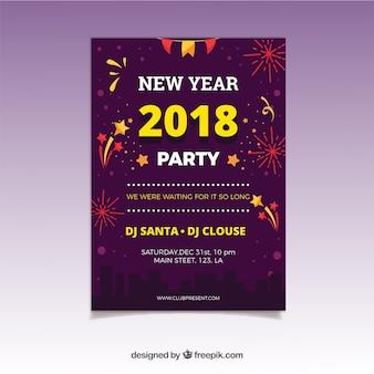 Einfacher neujahrs-party-flyer mit gelben elementen und feuerwerk