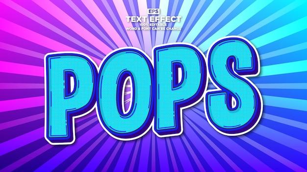 Einfacher pop-art-texteffekt mit sonne-burst-hintergrund