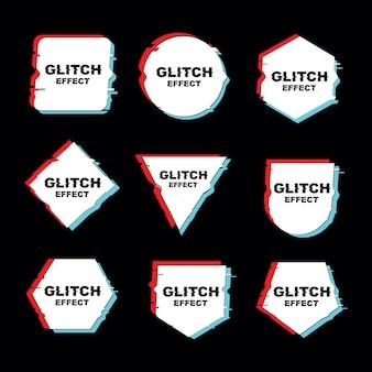 Einfacher rahmen mit glitch-effekt-vektor-set