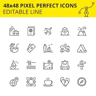 Einfacher satz anschlagikonen für den tourismus und das reisen. enthält symbole wie reisepass, ticket, gepäck, berge usw. pixel perfect. linie. .