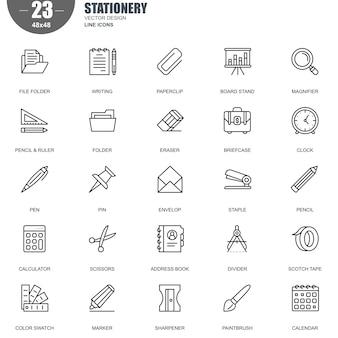 Einfacher satz briefpapier-in verbindung stehende vektor-linie ikonen