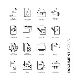 Einfacher satz der dokumentenikone, in verbindung stehende vektor-linie ikonen