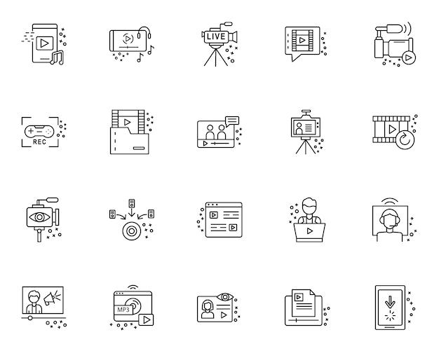 Einfacher satz des streamings von elementen bezog sich ikonen in der linie art