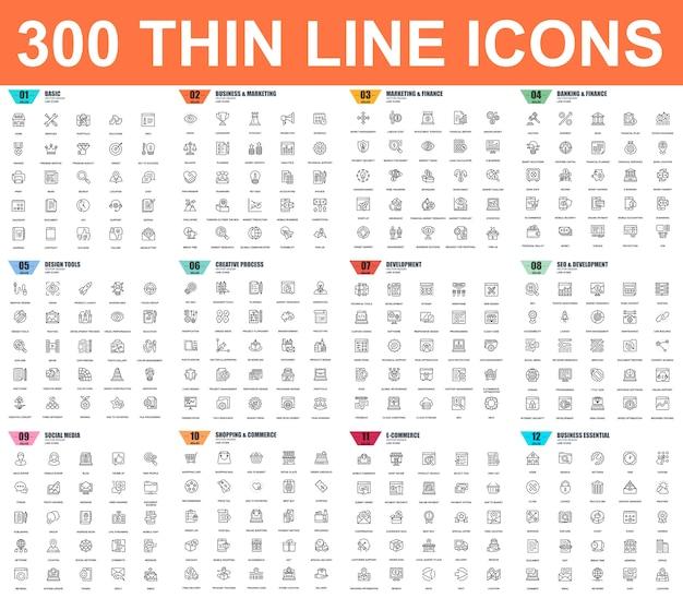 Einfacher satz dünne linie ikonen des vektors. 48x48 pixel perfekt. lineares piktogramm-paket.