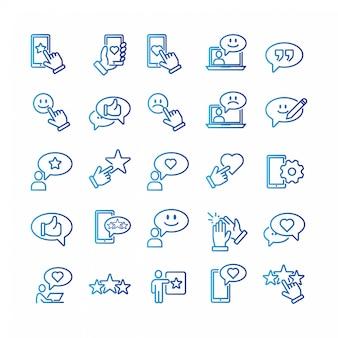 Einfacher satz feedback-in verbindung stehende vektor-linie ikonen.