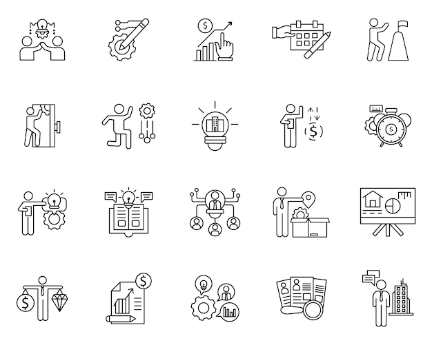 Einfacher satz geschäftselemente bezog sich vektorlinie ikonen