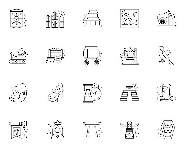 Einfacher satz geschichtselemente bezog sich ikonen in der linie art