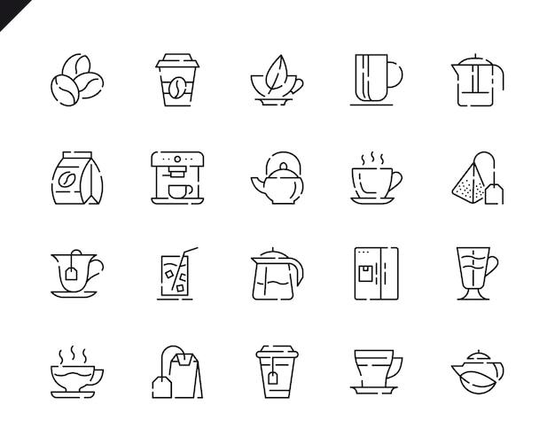 Einfacher satz kaffee und tee line icons
