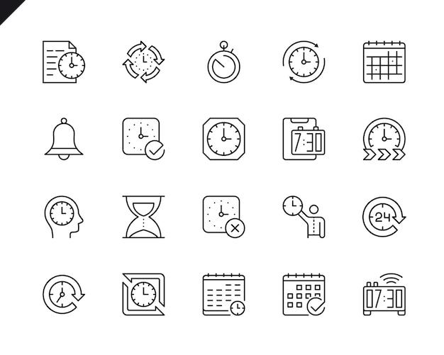 Einfacher satz zeit-in verbindung stehende vektor-linie ikonen.