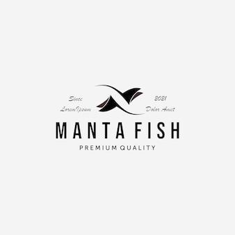 Einfacher stachelrochen-fisch-logo-vektor, weinlese-design von manta-fischen, illustrations-konzept von mantarochen