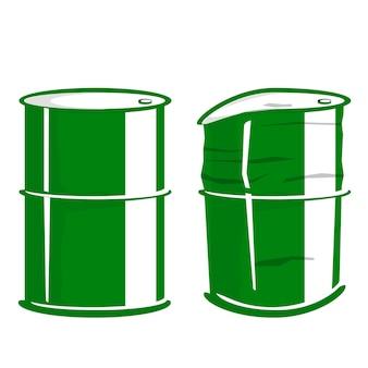 Einfacher vektor, 2 verschiedene zustands-grünes fass, isoliert auf weiß